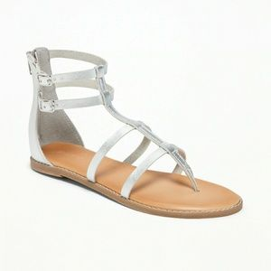 NWT OLD NAVY Strappy Gladiator Sandals Silver 7